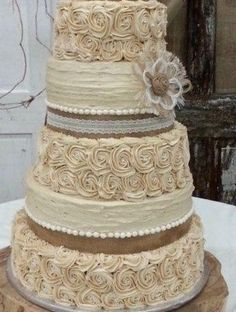 rustic flowers for wedding cakes | Wedding - Rustic Wedding Cake Burlap Flower - Farmhouse, Southern ...
