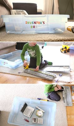 DIY Inventors Box - a super easy and cheap way to build STEM skills at home (and to keep the kids entertained!) {What a fun way to incorporate Technology into invention and creativity !}