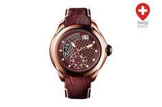 Relógio de quartzo de couro Guy Laroche Castanho e dourado rosa