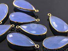 Light Blue Chalcedony Bezel Pear Shape Chalcedony by Beadspoint, $9.99