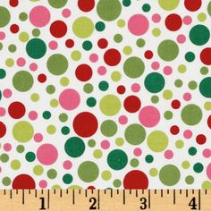 Michael Miller Play Dot Santa Red/Green from @fabricdotcom  Designed for Michael Miller, this cotton print fabric is perfect for quilt or craft projects, apparel and home décor accents. Colors include pink, red, green and lime on a white background.