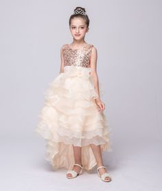 e447d0b9568d 2019 New Kids Party Dresses for 3 To 8 9 10 11 12 Year Old Girls Sequined  Short Front Long Back Flower Girl Dresses for Weddings
