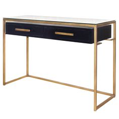 "Firenze Floating Console Table 2 Drawers Gold Frame in Espresso Material: MDF, Ash Veneer, Iron, Glass Description: Modern Glam accent piece featuring streamlined silhouette with gold metal pulls fashioned on Greek key brass frame on a glass top. Coffee Table Dimensions:  60""w x 16""d x 32.5""h"