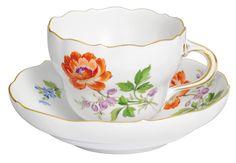 "Coffee c & s, Shape ""Neuer Ausschnitt"", Vintage Flowerpainting 2, Ranunkel, gold rim, V 0,20 l"