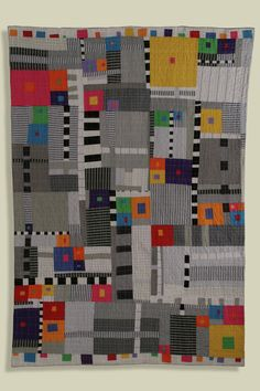 "Sarah Bearup-Neal: Figure/Ground #1, 43.5"" X 61"", machine pieced and quilted, commercial cottons, recycled men's shirts. 2006"