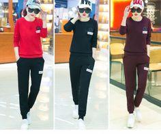 CW59231 Casual winter sportswear student slim hoodie 2pcs set