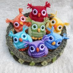 Rainbow Owls free crochet patterns at this site. :)