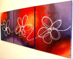 "Wall triptych art ""floral delight"" modern painting Abstract Painting flower floral art  huge wall art large 48 x 20 "". $149.00, via Etsy."