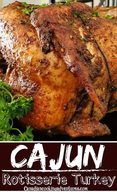 Cajun Rotisserie Turkey. Crispy on the outside and moist and tender on the inside with an amazing cajun flavor. This turkey recipe is the ultimate turkey to serve at Thanksgiving and Christmas. #Cajun #Rotisserie #Turkey #Thanksgiving Side Dish Recipes, Meat Recipes, Paleo Recipes, Indian Food Recipes, Cajun Turkey, Roasted Turkey, Thanksgiving Recipes, Holiday Recipes, Dinner Recipes