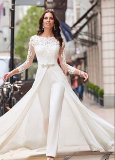 length Sleeves Bridal Jumpsuit Elegant Wedding pants dress with detachable train - Wedding Pantsuits & Jumpsuits Wedding Pantsuit, Wedding Attire, Wedding Gowns, Wedding Ceremony, Womens Wedding Suits, Lace Wedding, Backless Wedding, Wedding Wear, Wedding Bridesmaids