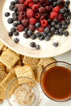 Salted Caramel Yogurt Dip with Mixed Berries | reluctantentertainer.com