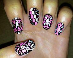 Tribal Pink Shine Fake Nails