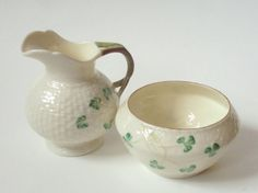 VINTAGE Belleek SHAMROCK Cream and Sugar Set