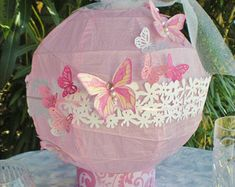 Items similar to Lantern centerpiece, LIGHTS UP, pink diameter, CUSTOM colors available on Etsy Butterfly Theme Party, Butterfly Baby Shower, Butterfly Wall Art, Umbrella Centerpiece, Lantern Centerpieces, Cherry Blossom Theme, Cool Glow, Battery Operated Led Lights, Wedding Lanterns