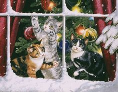 Winter, cat and snow in fine art. Paintings with winter cat. Cat Christmas Cards, Christmas Kitten, Christmas Scenes, Noel Christmas, Christmas Animals, Cheap Christmas, Christmas Lights, Winter Cat, Creation Photo