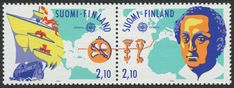 Finland Scott #885a (08 May1992) pair, Europa Discovery of America issue:   Santa María & Map of New World;  Columbus & Map of Old World.  …dotted line connecting the two worlds: From Palos, Spain to San Salvador, Bahamas.