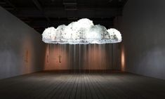 """light art installation """"Cloud"""" by artists Caitlin and Wayne Garrett is a is a multi-faceted cumulus cluster of lightbulbs, each controlled by individual chains Installation Interactive, Light Art Installation, Interactive Art, Art Installations, Indian Room, Lamp Inspiration, Cloud Lights, Museum Of Contemporary Art, Art Festival"""
