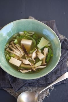 Miso soup with tofu, bok choy, and mushrooms. This stuff is so good, I can seriously not get enough!