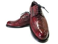 Luxury shoes dyed ostrich legs garnet