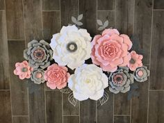 Paper Flower backdrop Pink white grey and silver set of How To Make Paper Flowers, Large Paper Flowers, Flower Paper, Different Flowers, Different Colors, Rose Decor, Arts And Crafts, Diy Crafts, Paper Flower Backdrop