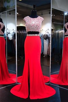 Fashion Cap Sleeve Open Back Red Jersey Beaded Two Piece Prom Dress