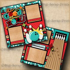 LET THE GOOD TIMES ROLL bowling 2 premade scrapbook pages paper layout DIGISCRAP #DigiScrapPrints