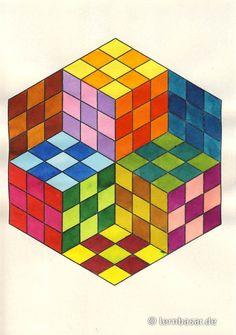 Würfel in – Art Sketches Drawing Heart, 3d Art Drawing, Geometric Drawing, Cool Art Drawings, Art Drawings Sketches, Geometric Art, Easy Drawings, Geometric Patterns, Illusion Kunst