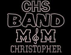 Band Mom Rhinestone Transfer DIY... Personalized Option to add TEAM Name  CHILD Name/# Optional Shirt Add On Available sold separately from www.beadyeyesonline.com #BeadyEyesOnline