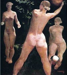 Play with a ball, 1932 // by Alexander Deineka, Moscow. The State Tretyakov Gallery Social Realism, Avant Garde Artists, Soviet Art, Classic Paintings, Russian Art, Romanticism, New Artists, Figure Painting, Master Class