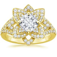 Cushion Cut Lily Diamond Engagement Ring - 18K Yellow Gold