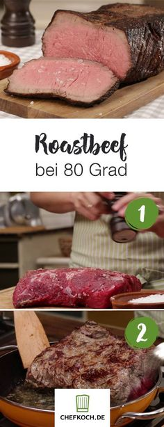 Roast beef at 80 degrees- Roastbeef bei 80 Grad Roast beef at 80 degrees - Crockpot Recipes, Chicken Recipes, Cooking Recipes, Cooking Food, Food Food, Smoker Recipes, Smoked Beef Brisket, Smoked Pork, Smoker Cooking