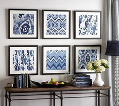 Framed Fabric Wall Decor–  When I saw the below wall decor collection being sold at Pottery Barn I immediately thought how easy it would be to create the same look using fabric.