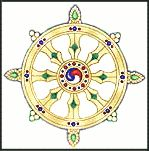 Eight Spoked Wheel- Dharmachakra= the wheel if Truth or Law