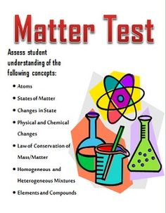 Middle School Science Matter Test to assess student understanding of atoms, states of matter, changes in state, physical and chemical changes, law of conservation of mass, homogeneous and heterogeneous mixtures, and elements and compounds