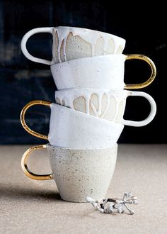 Sea Foam Glazed Stoneware Mugs   Etsy