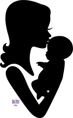 Mom and Baby Forehead Kiss Silhouette Vinyl Decal