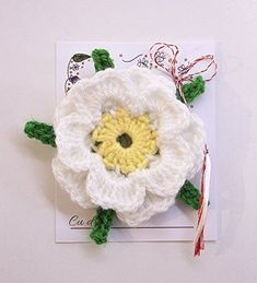 Martisor BROSA, floare cu snur traditional rosu si alb, romanian martisor, Martenitsa, 1 Martie, 8 Martie, Ziua Mamei Martie, Crochet Earrings, Traditional