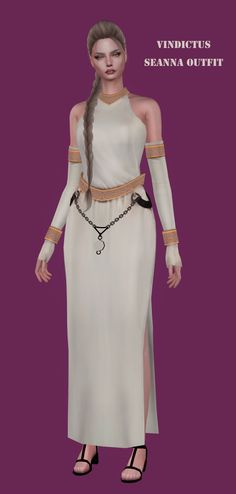 Vindictus Seanna Outfit by for The Sims 4 The Sims 4 Pc, Sims 4 Cas, Sims Cc, Sims 4 Collections, Fantasy Dress, Fantasy Outfits, Mileena, Sims Hair, Goddess Dress