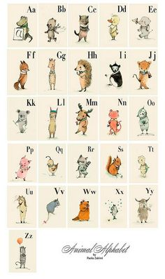 This ABC is a vintage style, alphabet picture book , drawing and digital colored and featuring various animals from around the world. Each animal corresponds to a letter in the alphabet, has a most loving and sometimes quirky personality and each has bea… Alphabet A, Animal Alphabet, Alphabet Wall Cards, Alphabet Nursery, Letter Wall Art, Alphabet Posters, Abc Wall, Typography Alphabet, Abc Poster