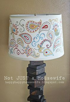 DIY Lamp ~ Scrap Wood lamp with hand painted shade.