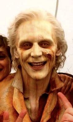 Oh my God, Tom Hiddleston post mortem. Still smiling, help.