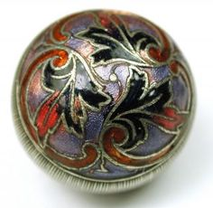 Antique French Enamel Button Pierced Ball W/ Colorful Floral Design photo