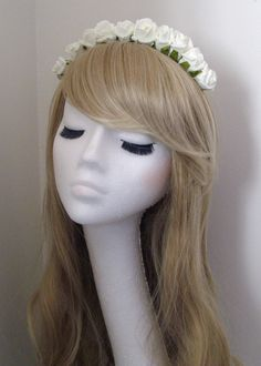 Rose Floral Flower Garland Crown Headband Hair Band Bridal Festival Ivory