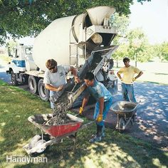 I take the mystery out of ordering concrete from a ready-mix company and explain everything you need to know to order it yourself. We tell you how to determine the amount and the strength of the concrete for your shed, garage, sidewalk, patio or driveway. Concrete Cost, Concrete Walkway, Concrete Bricks, Concrete Forms, Poured Concrete, Concrete Projects, Outdoor Projects, Outdoor Ideas, Concrete Footings