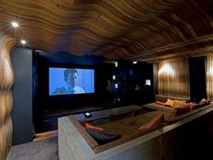 Curved Wood Ceiling In Home Theater