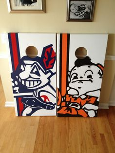 Cleveland Indians & Cleveland Browns Cornhole Boards.  100% hand painted. www.danscustomgames.com