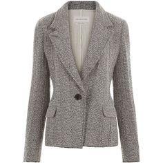 Isabel Marant Étoile Grey Herringbone Ela Blazer ❤ liked on Polyvore featuring outerwear, jackets, blazers, blazer, shiny jacket, gray blazer, long sleeve blazer, grey herringbone jacket and grey herringbone blazer