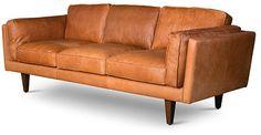 "Brooklyn 90"" Leather Sofa, Russett"