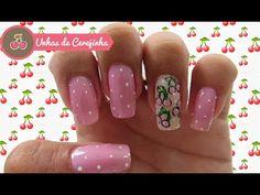 Olá, no vídeo de hoje eu venho mostrar pra vocês um modelo de unhas decoradas de cerejinhas.       Eu usei:   - 2 tons de rosas um clarinho ...