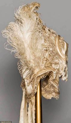 OFF WHITE SILK & LACE BONNET, 1850s   In the Swan's Shadow
